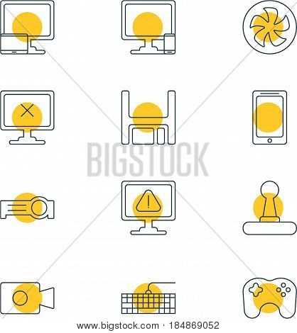 Vector Illustration Of 12 Laptop Icons. Editable Pack Of Game Controller, Cooler, Presentation And Other Elements.