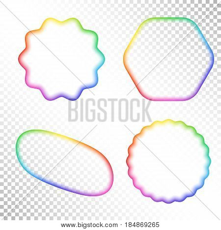 Set of Abstract Transparent Rainbow Gradient Blurry Figure. Place for your Content Colorful Frame with Iridescent Gradient Mesh.