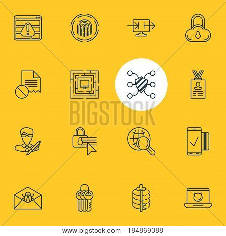 Vector Illustration Of 16 Internet Security Icons. Editable Pack Of System Security, Confidentiality Options, Safeguard And Other Elements.