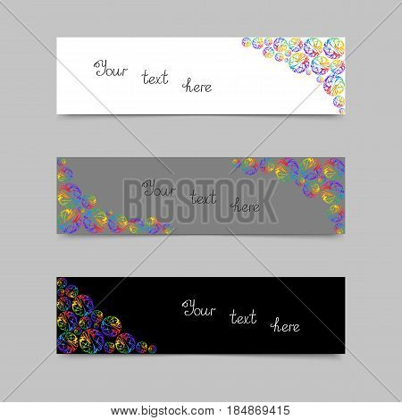 Set of Cards or Banners with Colorful Circles. Collection Banner Design with Rainbow Spheres for Text Stickers Message Flyers.