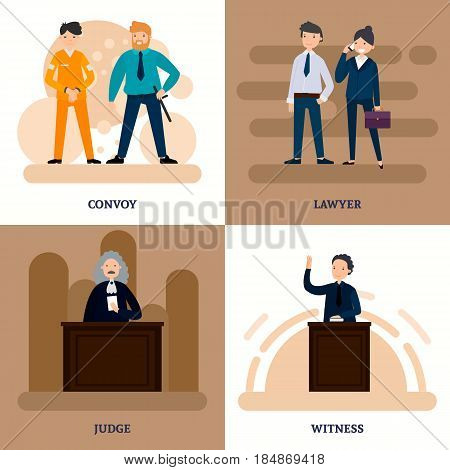 People in court square composition with different participants of judicial session in flat style vector illustration