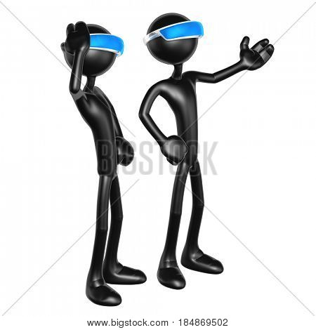 The Original 3D Characters Illustration Wearing An Augmented Reality Visor