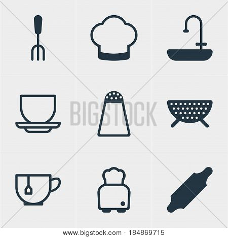 Vector Illustration Of 9 Cooking Icons. Editable Pack Of Bakery Roller, Sieve, Washstand Elements.
