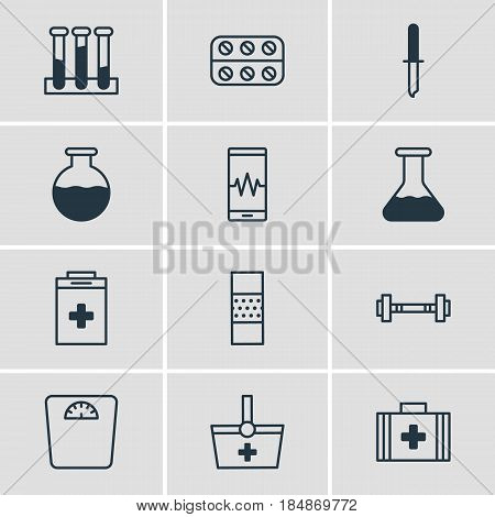 Vector Illustration Of 12 Medicine Icons. Editable Pack Of Basket, Experiment Flask, Exigency And Other Elements.