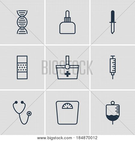 Vector Illustration Of 9 Medicine Icons. Editable Pack Of Pipette, Vaccinator, Weighing And Other Elements.