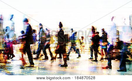 Lots of business people walking in the City. Business and modern life concept. Multiple  exposure image.
