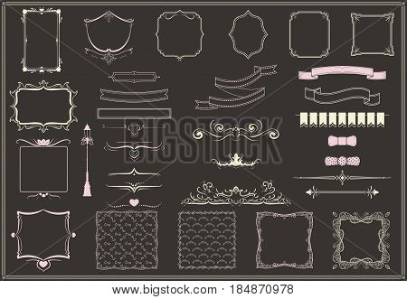 Vintage empty decorative elements collection with borders bow ties ornamental swirls ribbons ornate frames isolated vector illustration
