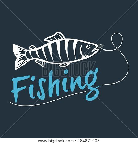 fishing logo isolated on a dark background. Vector illustration