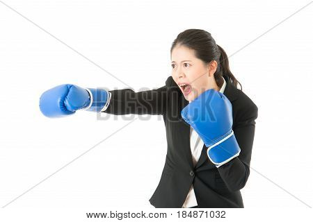Business Woman With Boxing Gloves Shout