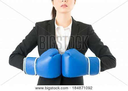 Rage Businesswoman Wearing Boxing Gloves