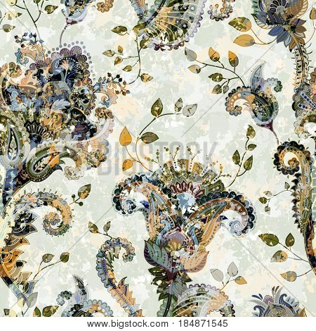 Seamless Paisley background, floral pattern. Color wallpaper with decorative flowers. Effect of the ancient fresco