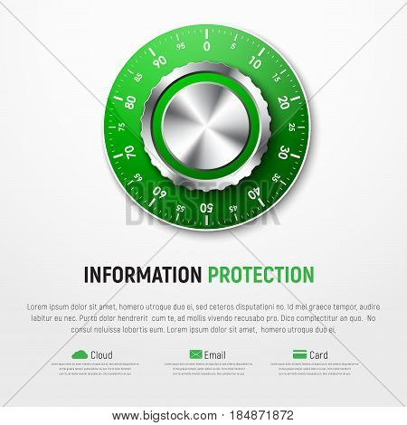 Template Of White Banner With Green Mechanical Combination Lock