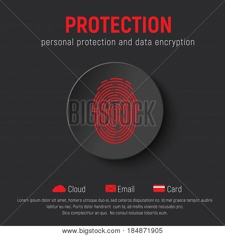 Square Black Banner With A Round Button And A Red Fingerprint.