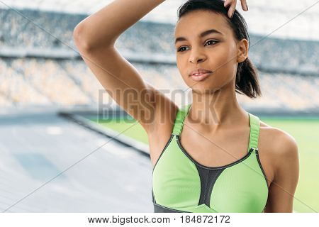 Tired African American Sportswoman After Training On Stadium, Running Woman Tired Concept