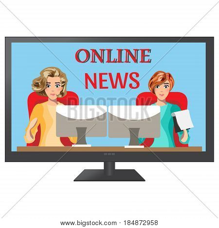 Girls leading news on TV. vector illustration
