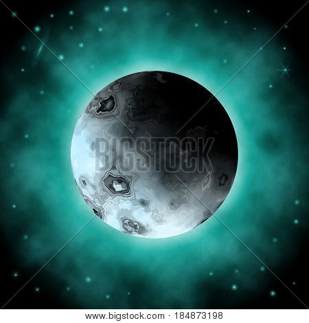 Realistic Vector 3D Planet of the Dark Space Background with Flickering Stars