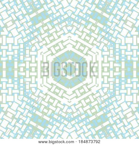 Abstract geometric light background. Regular hexagon pattern white, pastel blue and pale green centered.
