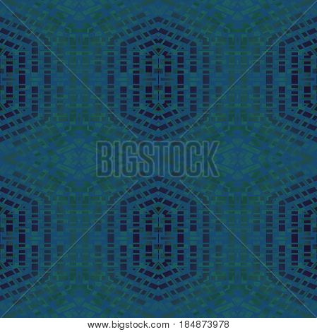 Abstract geometric seamless background. Regular hexagon and diamond pattern in dark blue, gray and green shades, modern and extensive.