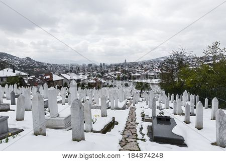 A Muslim Cemetery In A Beautiful Winter Day In Sarajevo, Bosnia And Herzegovina.