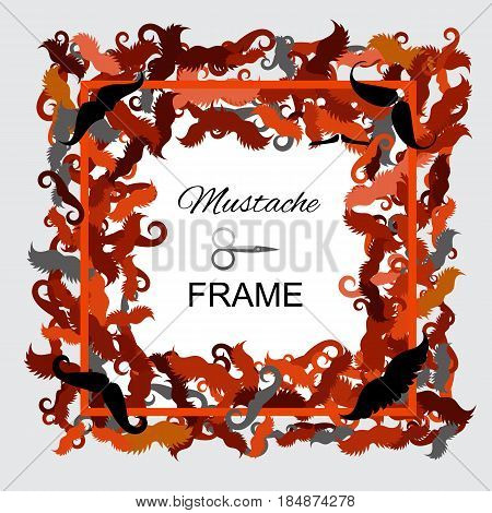 Hipster Mustache Frame. Border of Various Types of Whiskers