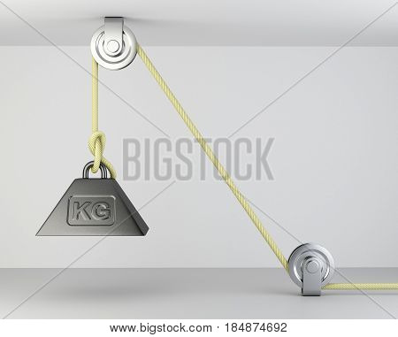 Weight with mass symbol tied on a roppe and block system. 3d illustration on a grey background.