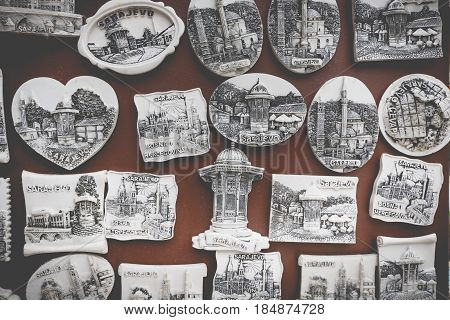 Souvenir magnets from Sarajevo, Bosnia and Herzegovina