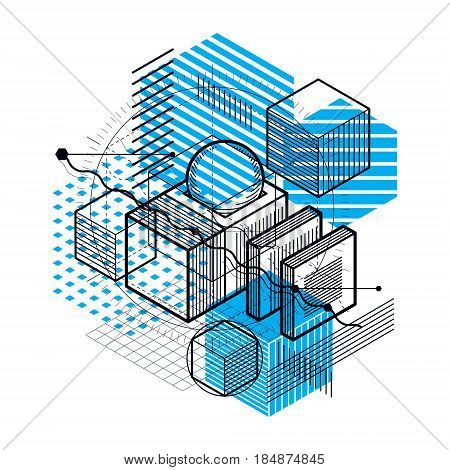3d abstract vector isometric background. Layout of cubes hexagons squares rectangles and different abstract elements.