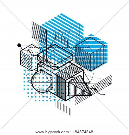 Abstract design with 3d linear mesh shapes and figures vector isometric background. Cubes hexagons squares rectangles and different abstract elements.