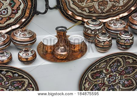Colorful Ceramic Souvenirs For Sale On The Street In Old Town Mostar. Bosnia And Herzegovina.