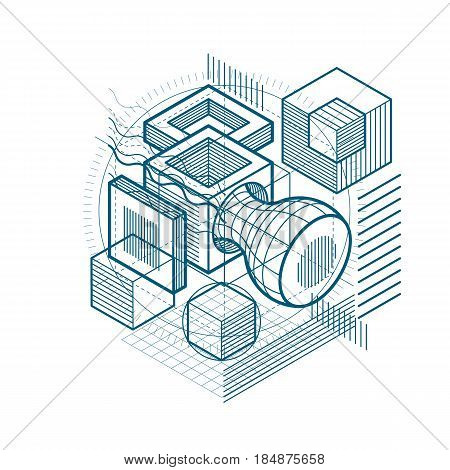 Abstract isometrics background 3d vector layout. Composition of cubes hexagons squares rectangles and different abstract elements.