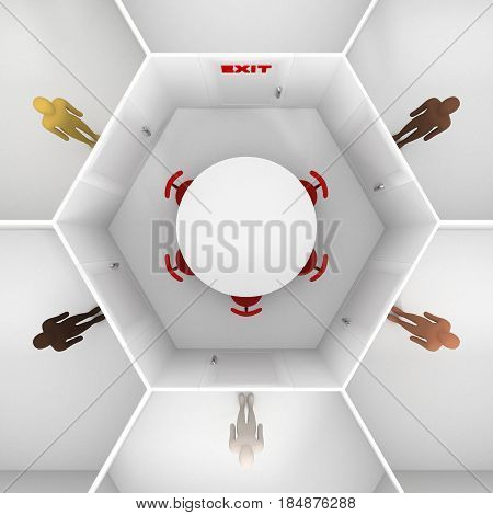 Five people with different skin colors standing front of door, around hexagonal closed white room with round table, chairs and closed door with red exit text sign to discuss. 3D Illustration