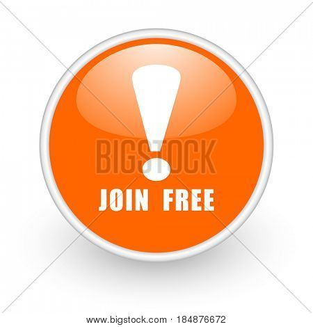 Join free modern design glossy orange web icon on white background.