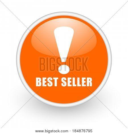 Best seller modern design glossy orange web icon on white background.