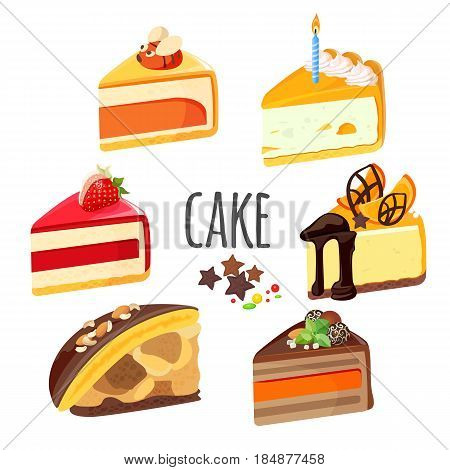 Set of cake pieces with fruits, white and black chocolate, ream jelly and cheesecake stuffing realistic vector illustration isolated