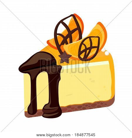 Piece of birthday cheesecake with chocolate topping decorated with orange fruit slices and cocoa candies on top vector illustration isolated on white