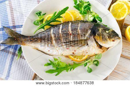 Sea Bream Fish On Plate