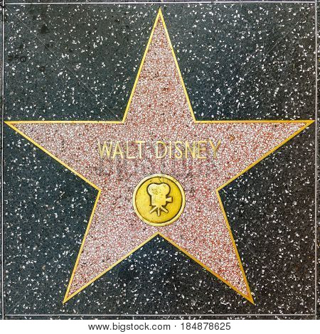 Walt Disneys Star On Hollywood Walk Of Fame