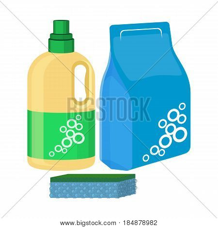 Bleach bottle with sponge, package of washing powder, detergent water-soluble cleansing agent vector illustration isolated on white