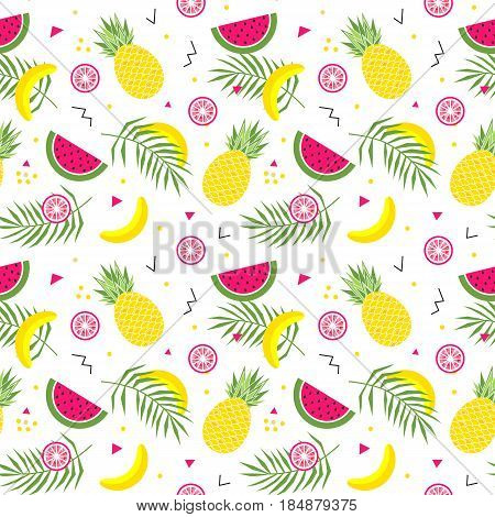 Seamless pattern with yellow bananas, watermelon, pineapples and leaves on white background. Memphis style vector background. Bright summer fruits illustration. Fruit mix design for fabric and decor
