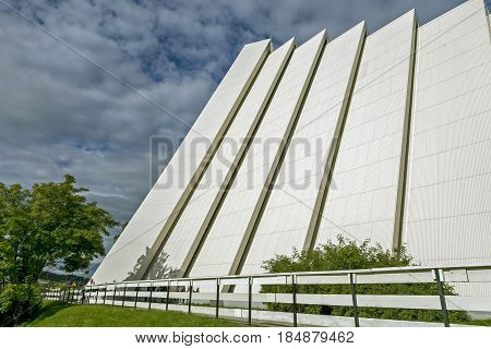 Norway, Tromso  June 25, 2015: Arctic Cathedral Church in Tromso Norway. Part of the facade. Close-up. Norway
