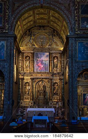 FUNCHAL MADEIRA PORUGAL - SEPTEMBER 1 2016: Sao Pedro church interior in Funchal on Madeira . Portugal