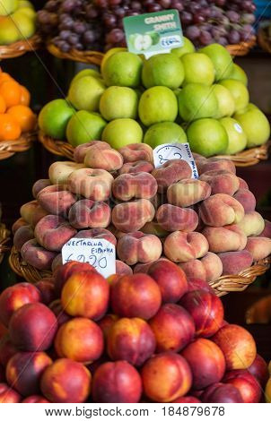 FUNCHAL PORTUGAL - SEPTEMBER 2 2016: Fresh exotic fruits on famous market in Funchal (Mercado dos Lavradores) Madeira island Portugal