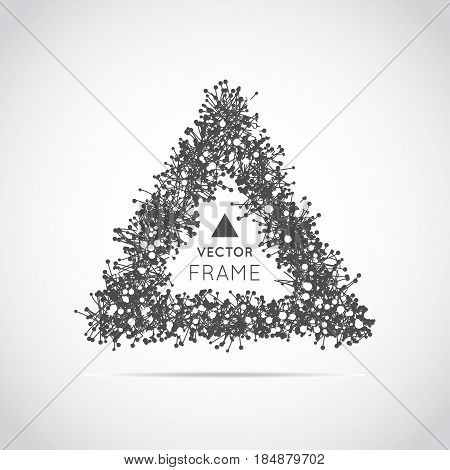 Hand drawn triangle Triangular vector frame on white background