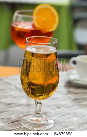 Traditional Spritz aperitif and beer in a bar in Italy