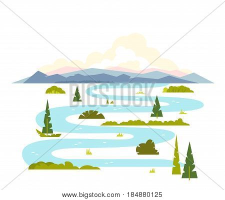 Meandering river flows from the mountains, wraps around trees and shrubs, sample geometric shapes, flat illustration on white background