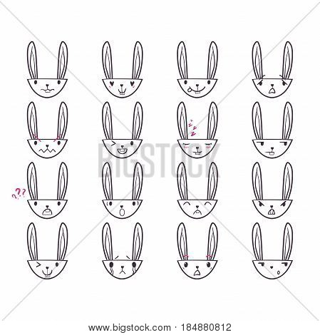 Set of cute Easter bunny emoticons with happy and lovely faces, hand-drawn rabbit collection with various emotions, EPS 8