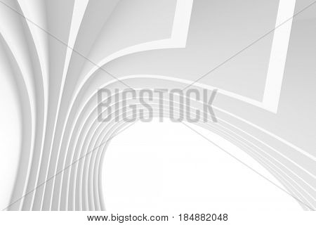 White Architecture Circular Background. Abstract Tunnel Design. 3d Architecture Render. Futuristic Building Construction