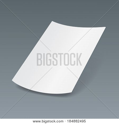 Blank Paper Leaflet, Flyer, Broadsheet, Flier, Follicle, Leaf A4 With Shadows. On Gray Dark Background Isolated. Mock Up Template Ready For Your Design. Vector EPS10