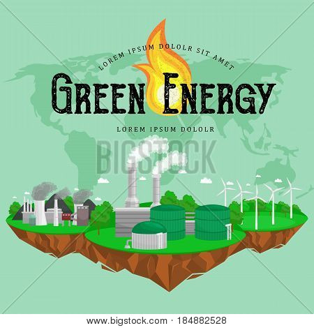 renewable ecology energy icons, green city power alternative resources concept, environment save new technology, solar and wind electricity vector illustration.