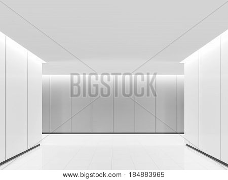Empty white room modern space interior 3d rendering image .A blank wall with white and grey color. Decorate wall with groove line pattern